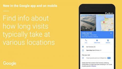 محرك جوجل يجلب متوسط المدة الزمنية لزيارة المواقع الجغرافية